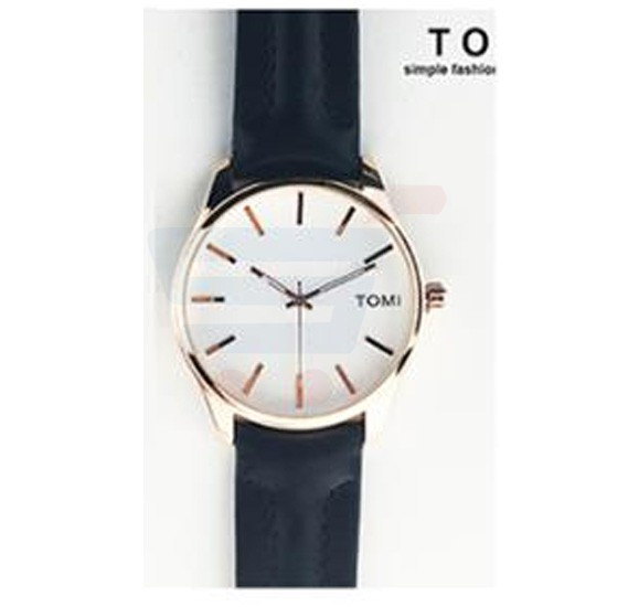 TOMI Womens Leather Band Wrist Watch T069, Black Gold