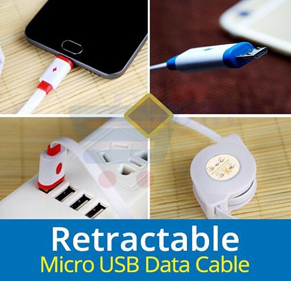 Zooni Universal Multi-Color Retractable Micro USB Cable for Android Devices