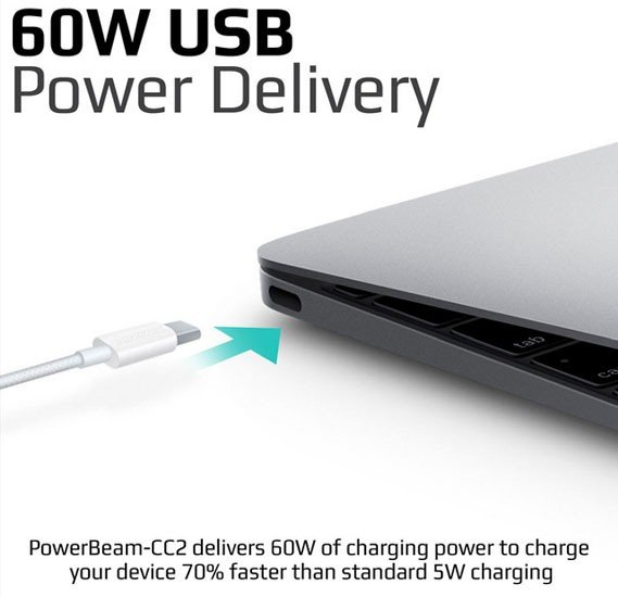 Promate USB-C to USB-C Cable, Premium 60W Power Delivery USB Type-C to Type-C 3A Sync, PowerBeam-CC2.White