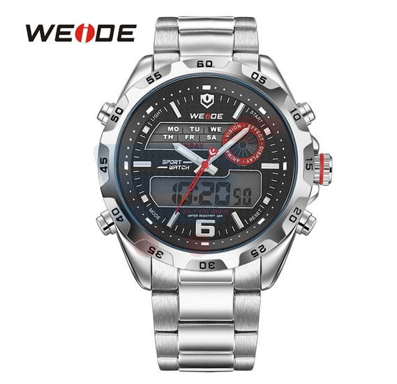 Weide Mens Watches Top Brand Luxury Quartz Watch 30 Meters Waterproof Back Light Display Wristwatch - 3403