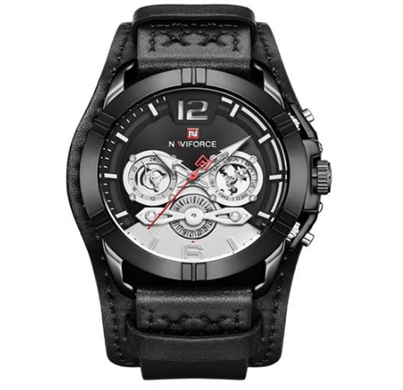 Naviforce Genuine Leather Multi-Function Quartz Movement Watch For Men, NF 9162 Black