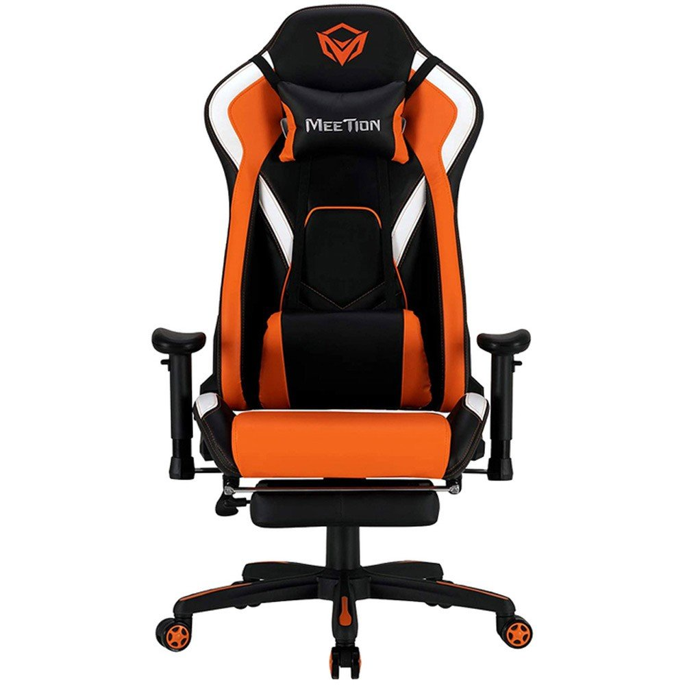 Meetion CHR22 Comfortable Reclining Gaming Chair With Footrest, Black and Orange