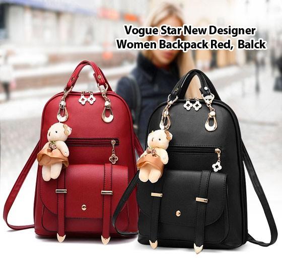 2 in 1 Vogue Star New Designer Women Backpack For Teens Girls-black & Red