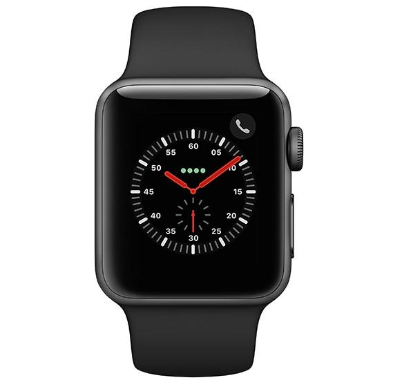 Apple Watch Series 3 MQJP2 38mm Smartwatch (GPS + Cellular, Space Gray Aluminum Case, Black Sport Band)