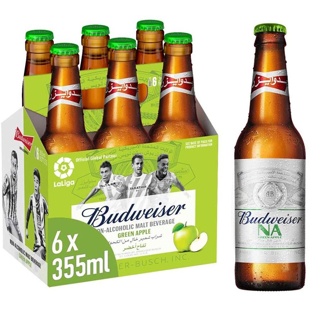 Budweiser Apple Flavour Non Alcoholic Malt Beverage 355ml Pack Of 6 Bottles 53004.501