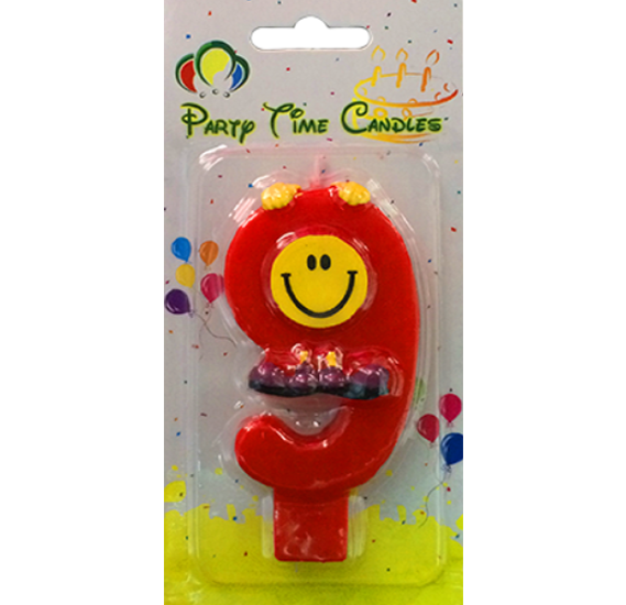 Party Time Smiley Candle 9 M082
