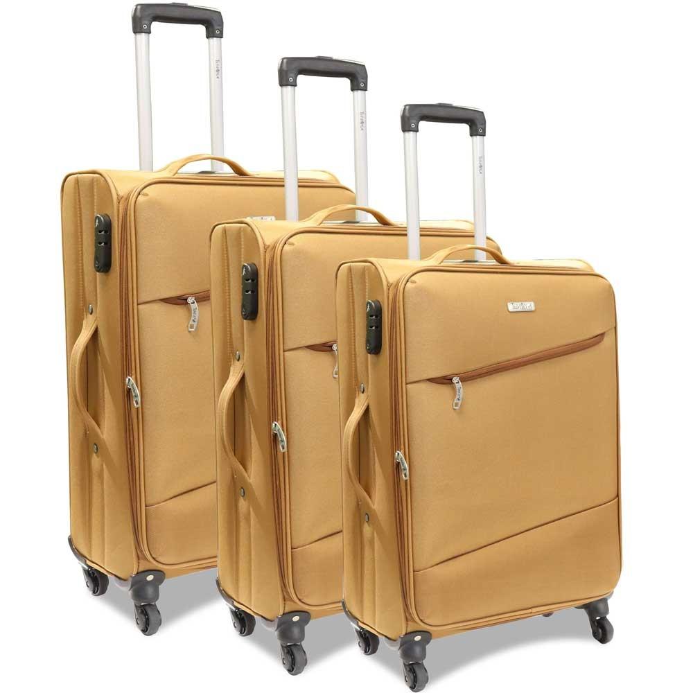 Traveller 4 Wheel Soft Trolley 3pcs Set, TR-3310, Tan