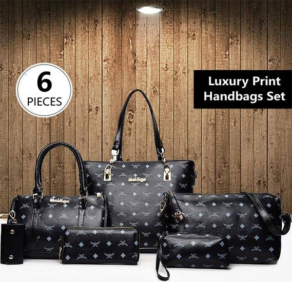 6 Pieces Luxury Bag Set High-Quality Black Handbags