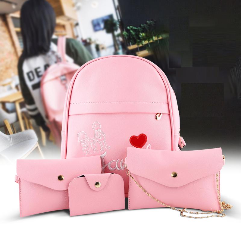 Womens stylish backpack set, 4 pcs ACE-4 Pink