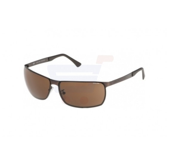 Police Rectangle Brown Frame & Grey Mirrored Sunglasses For Men - S8959-0SLS