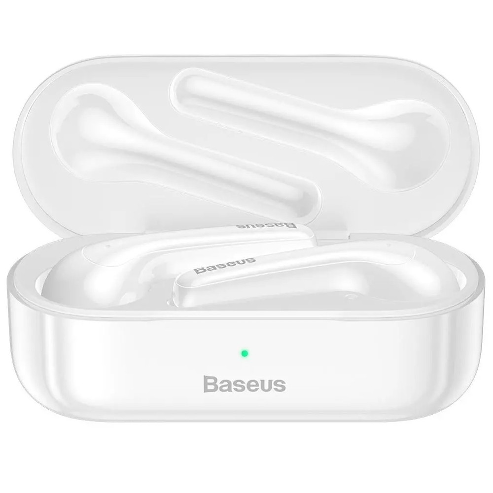 Baseus W07 bluetooth 5.0 Earphone Stereo Sports Wireless Headphone with Dual Noise Reduction Mic, White -1 year warranty