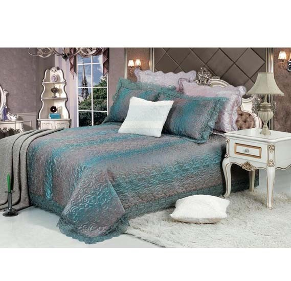 Senoures Blue Marine Jacquard Bed Spread 3Pcs Set Double - SBJ-031