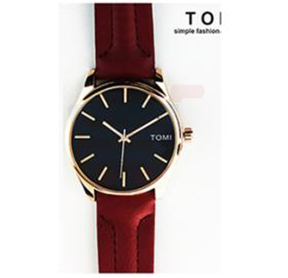 TOMI Womens Leather Band Wrist Watch T069, Maroon