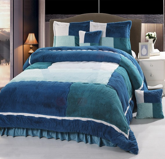 Senoures Velour Comforter 6Pcs Set King - SPV-003 Green