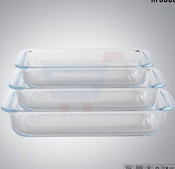Royalford 3Pc Rectangle Glass Baking Tray 1+2.2+3L - RF8802