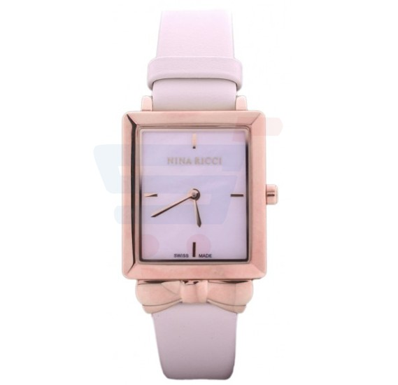 Nina Ricci Analog White Mother of Pearl Case Beige Strap Ladies Watch - N100002SM