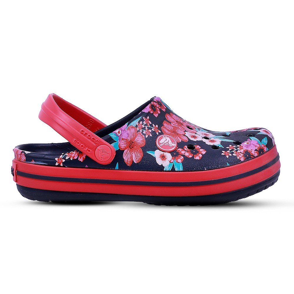 Crocs Kids Clogs Sandals Croc Band Flower Print Clog K Navy 205898-4KC, Size 30