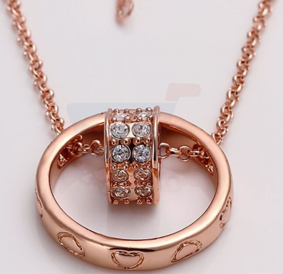 18k Rose Gold Plated Necklace with Austrian Crystals For Women