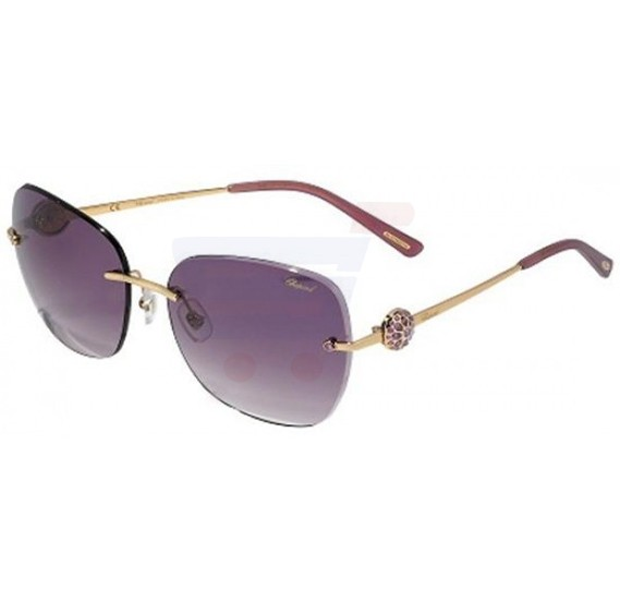 Chopard Aviator Gold Frame & Purple Mirrored Sunglasses For Unisex - SCHB22S-300X