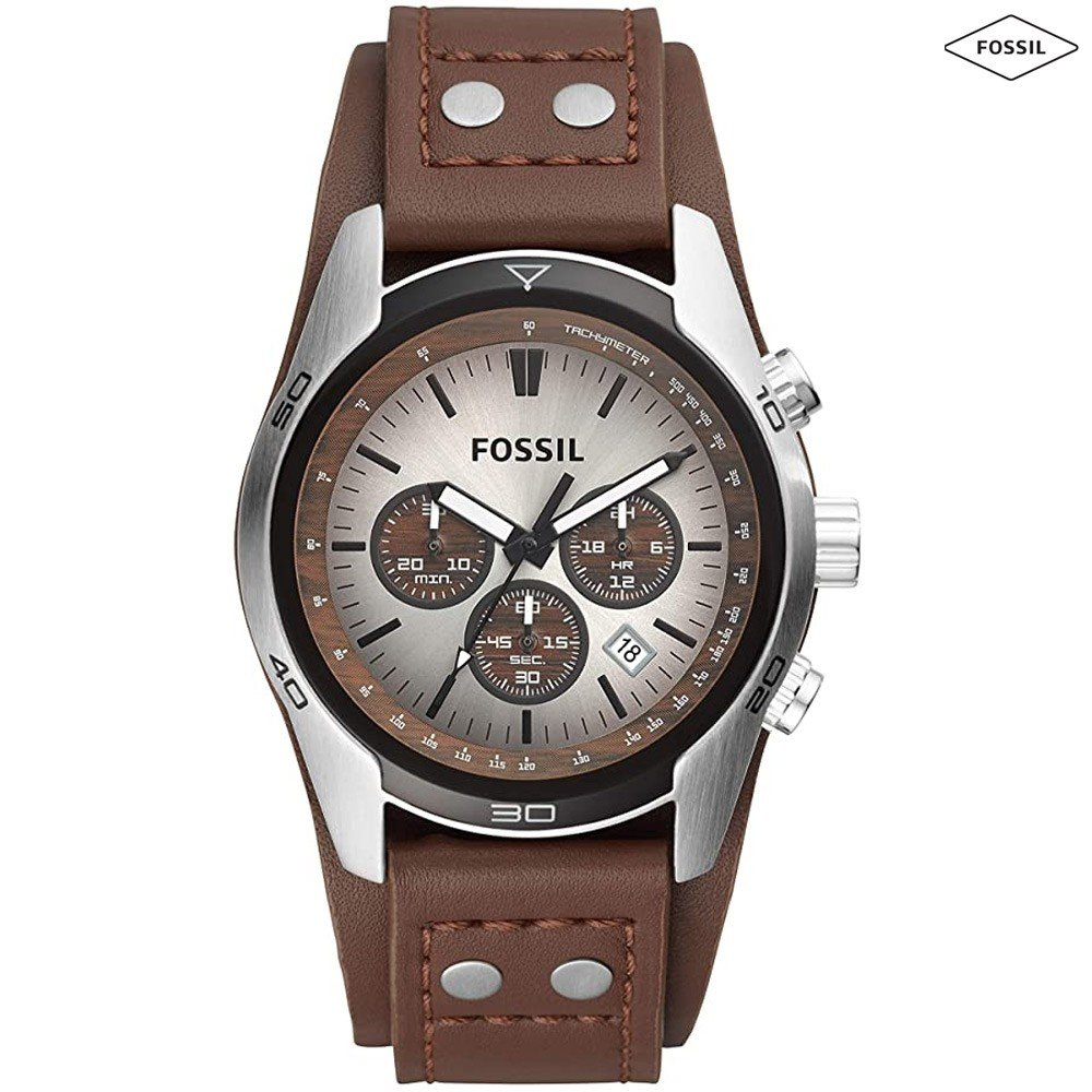 Fossil Coachman Silver Dial Leather Band Chronograph Watch Men - CH2565