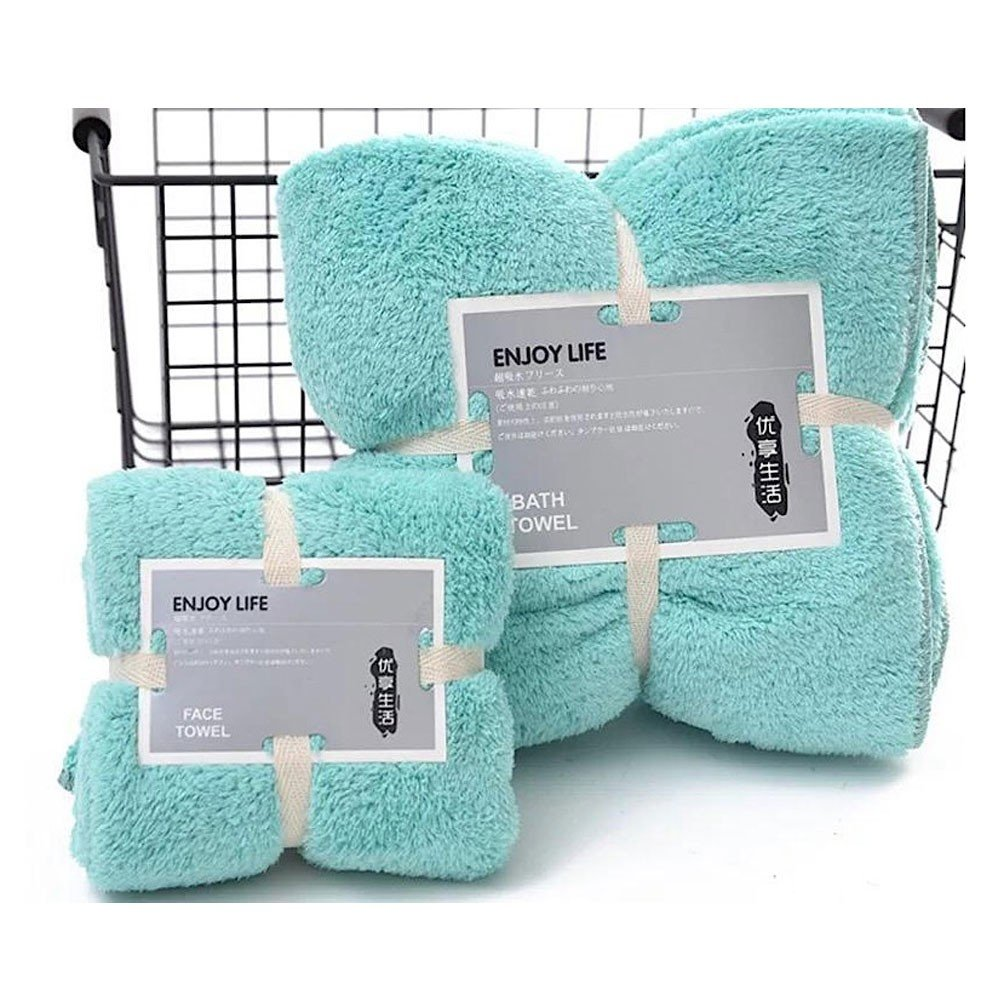 Microfiber Bath Towel Set of 2 Pieces, Light Blue Color