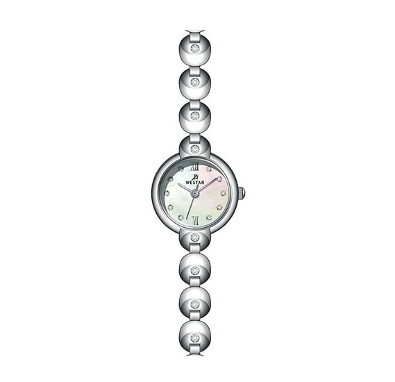 Westar 20252STN111 Stainless Steel Ladies Watch ,Mop - White