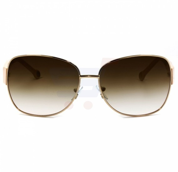 Carolina Herrera Round Beige Frame & Gradent Brown Mirrored Sunglasses For Women - SHE020-08FE