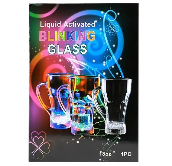 Liquid Activated Blinking Glass 18oz 1pc