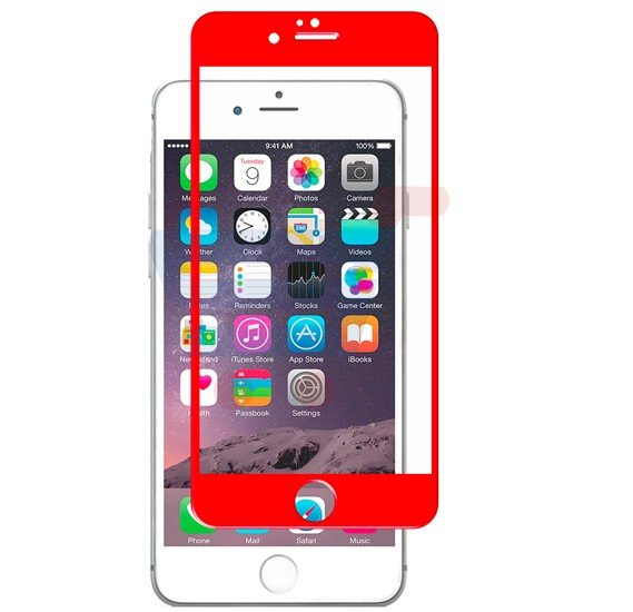 Apple compatible 2 in 1 protective glass Kit for Iphone 6 Plus Red