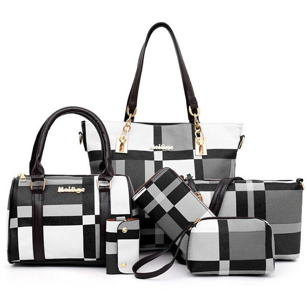 Womens 6 Piece PU Leather Canvas Bag with Pattern/Print Zipper, Black and White