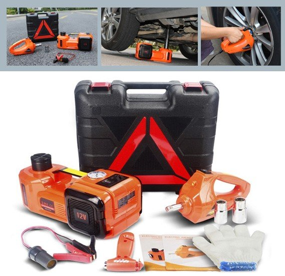 3 In 1 Multifunctional Car Repair Toolkit  5 Ton Electric Hydraulic Floor Jack Set of  Electric jack and air pump and Electric Wrench For Car Use Red Color