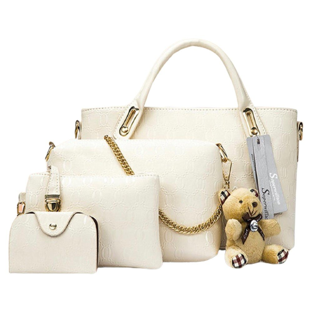 Womens 4 Pcs PU Composite hand bag set with Teddy Keychain White