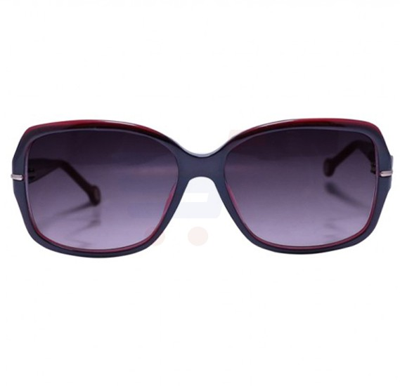 Carolina Herrera Round Black Frame & Black Brown Mirrored Sunglasses For Women - SHE574-OJ61