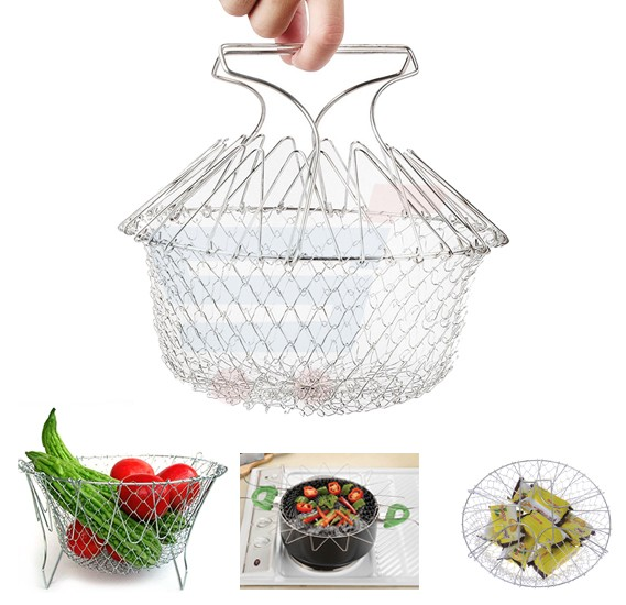 Stainless Steel Foldable Washing Steam Fry Chef Deep Basket Magic Mesh Basket Net Basket Net Kitchen Cooking Tool