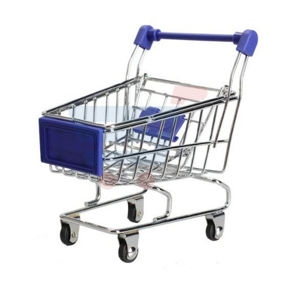 Phone and Pen Holder Blue Mini Supermarket Shopping Cart Trolley