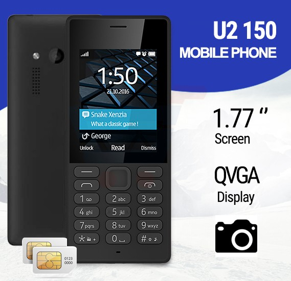 U2 150 Mobile Phone, 1.77 Inch QVGA Display, Dual Sim, Camera- Black