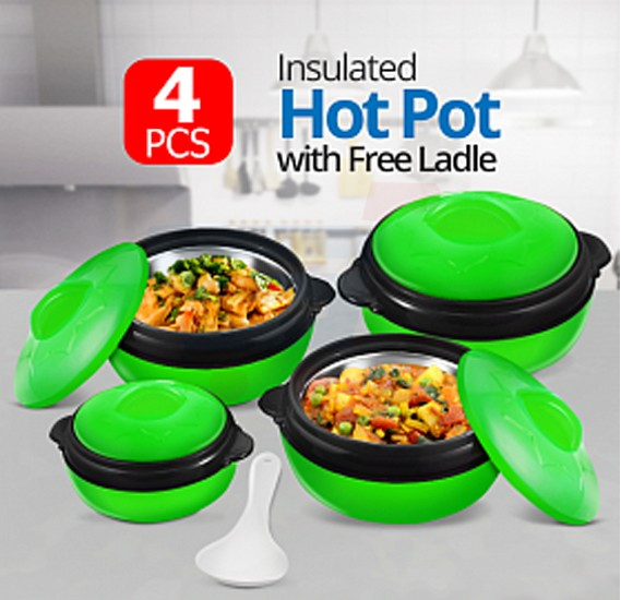 Olympia 4 Pcs Insulated Hot Pot & Free Ladle Green, OE-2002