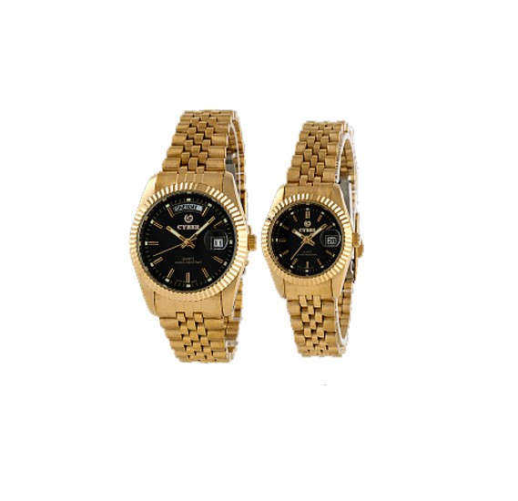 Cyber Pair Watch For Men & Women Gold Black, CB-9333M