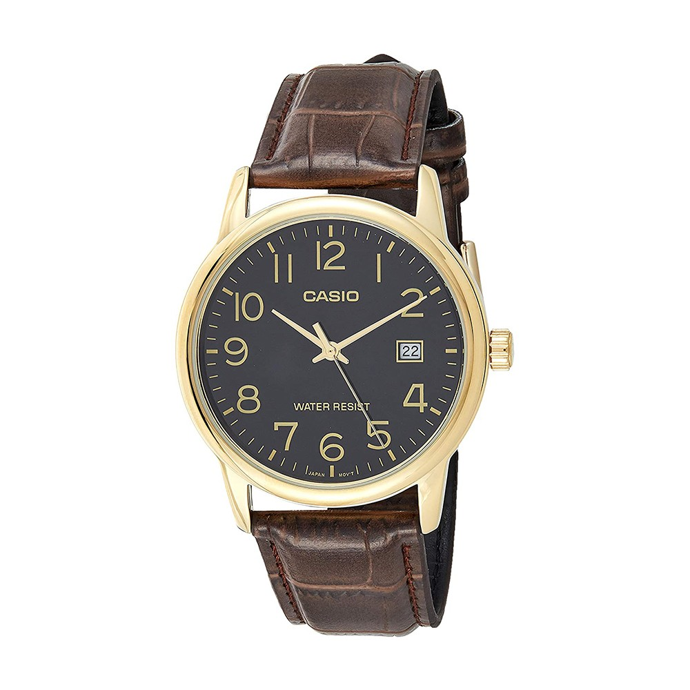 Casio Mens Analog Leather Band Watch, MTP-V002GL-1BUDF
