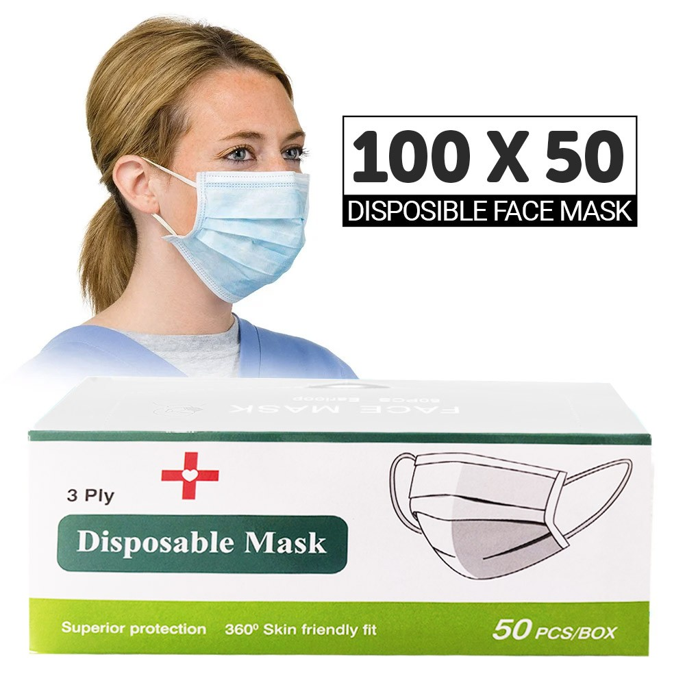 100 Box Disposable Face Mask Pack, 100 x 50 Pieces