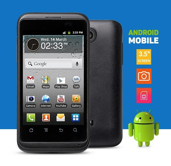Android Smartphone, Single Sim, 3.5 inch, Black