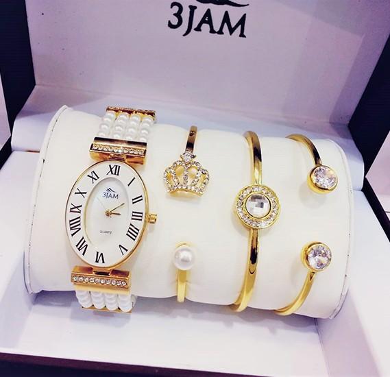 3 JAM Ladies fashion watch & bracelets gift set, 3J27