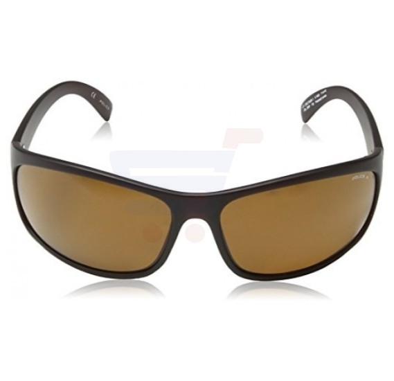 Police Rectangular Matt Intermediate Brown Frame & Brown Mirrored Sunglasses For Men - S1863M-Z55P