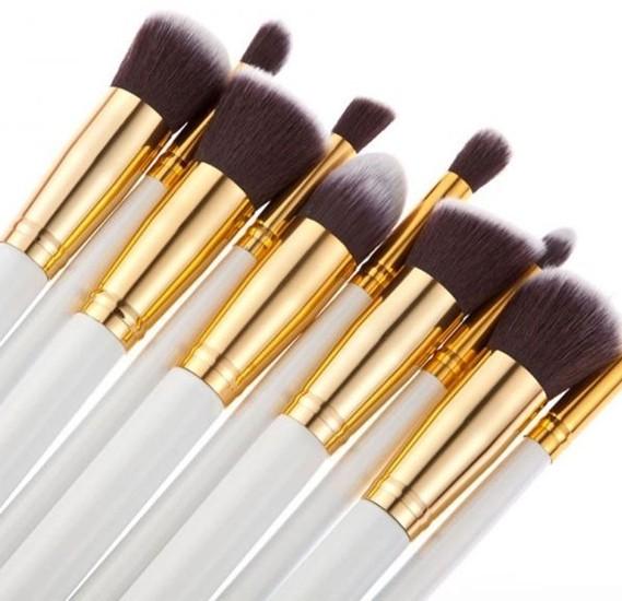 10 pcs cosmetic makeup beauty brushes tool set kit brush with leather case poush -White gold