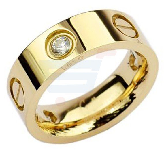 18k Gold Plated Screw Ring with Stone US7