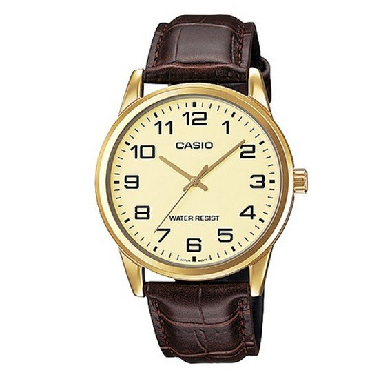 Casio Genuine Leather Watch For Men, MTP-V001GL-9BUDF
