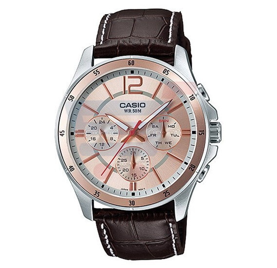 Casio Analog Watch For Men, Brown Leather Strap Multifunction-MTP-1374L-9A