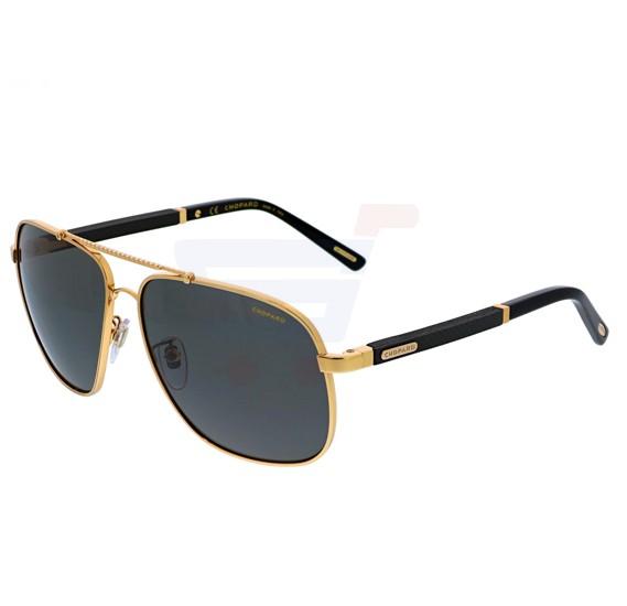 Chopard Geometric Shiny Rose Gold Smoke Polarized Frame & Green Color Mirrored Sunglass For Unisex - SCHB77-300Z