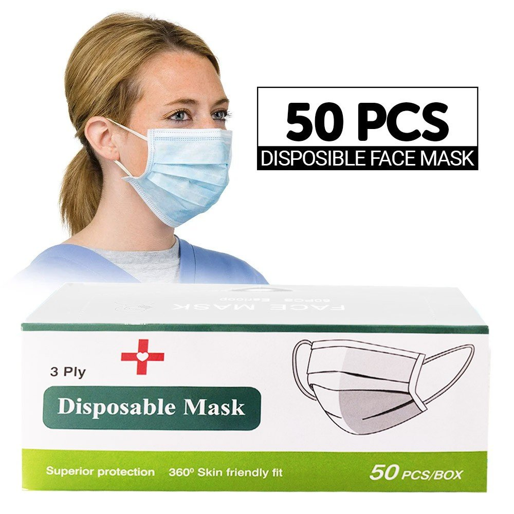 Disposable 3 Ply Face Mask 50 Piece