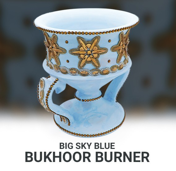Bukhoor Ceramic Incense Burner Home Made Jango Sky Blue